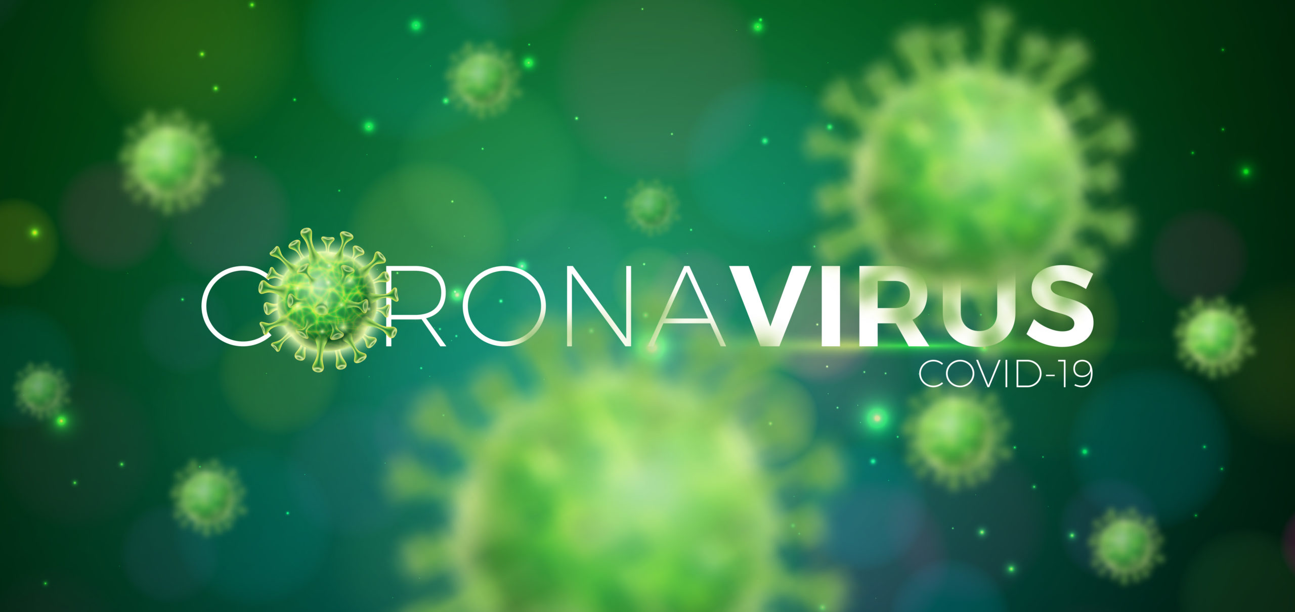 Covid-19. Coronavirus Outbreak Design with Virus Cell in Microscopic View on Green Background. Vector Illustration Template on Dangerous SARS Epidemic Theme for Promotional Banner or Flyer.